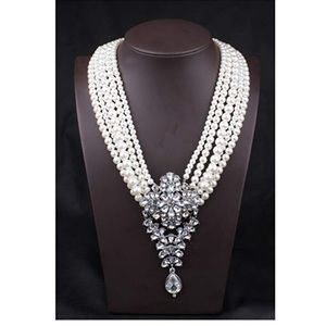 Luxury Pearl & Crystal Long Statement Necklace